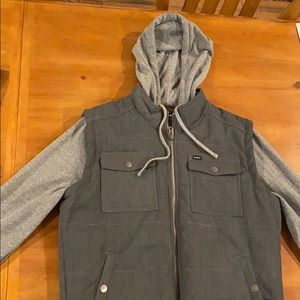 Grey and charcoal vest hoodie.